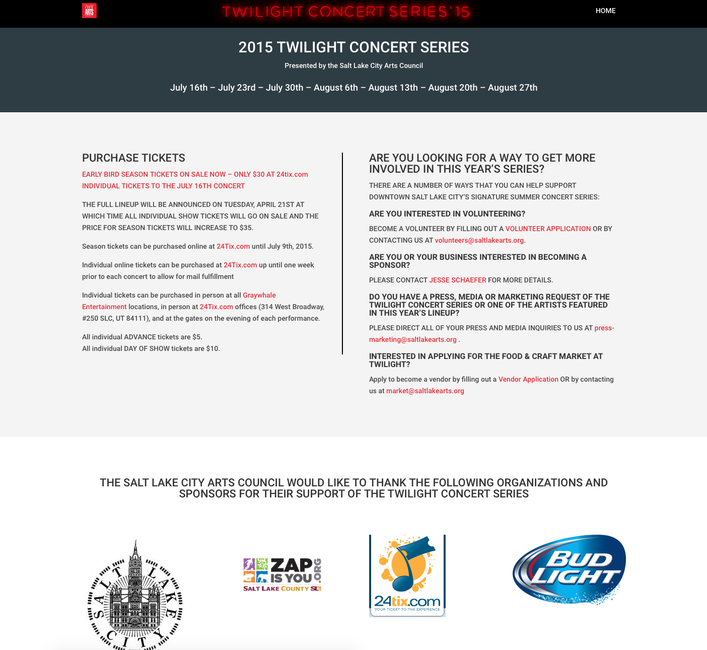 Twilight Concert Series 2015 below the fold