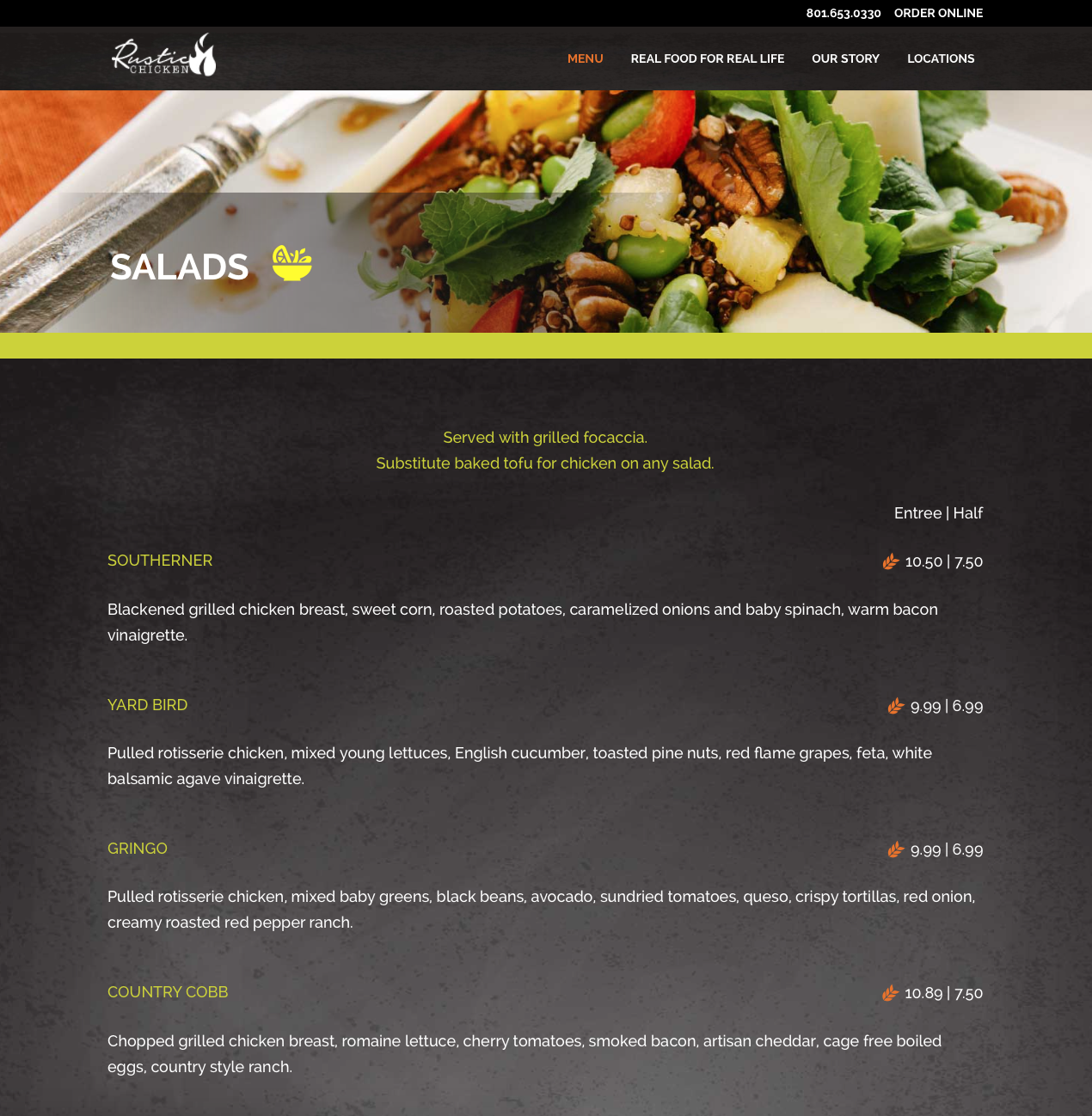Rustic Chicken Menu Page